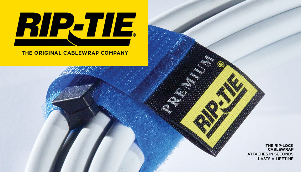 Rip-Tie cablewraps and ties have become a standard in reusable cable management and organization.